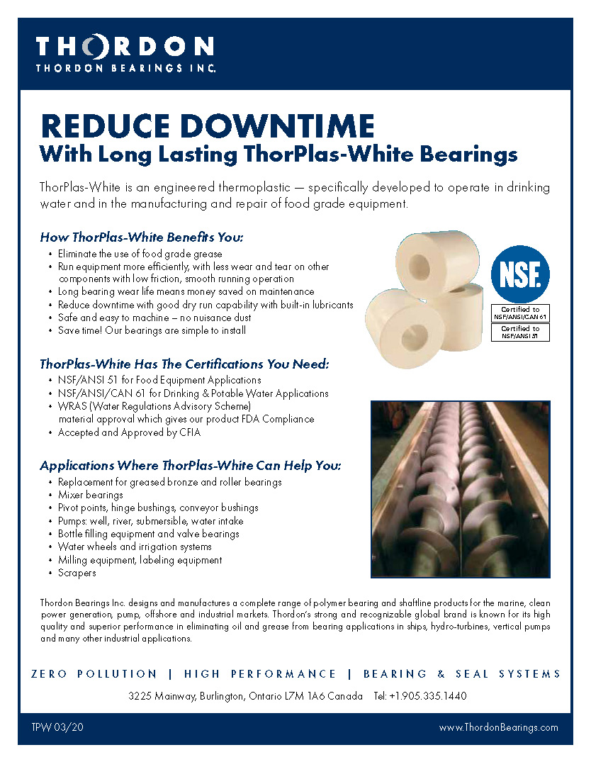 Reduce Downtime with Long Lasting ThorPlas-White Bearings