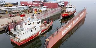 CCG Caribou Isle CCG Ile Saint Ours in Drydock at Heddle Marine