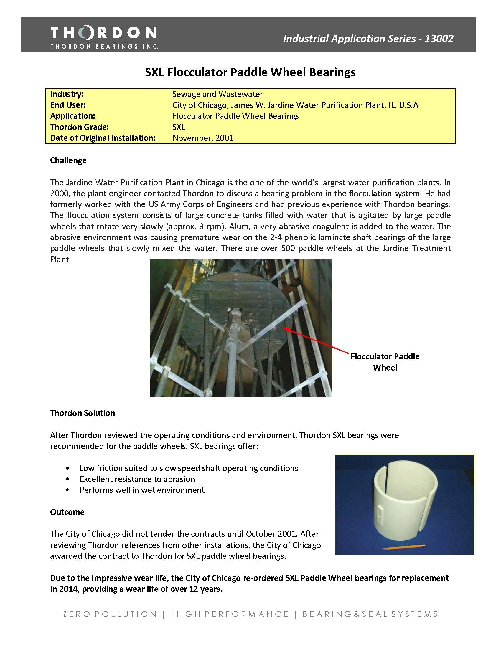 13002- SXL Flocculator Paddle Wheel Bearings