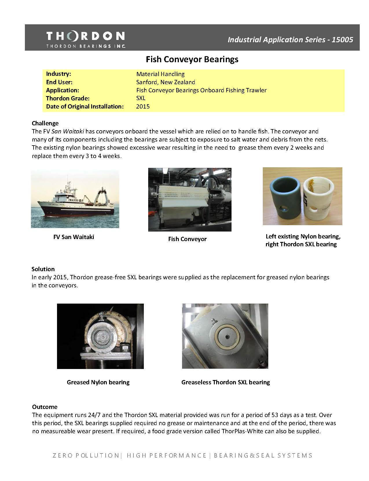 15005- Seafood Conveyor Bearings