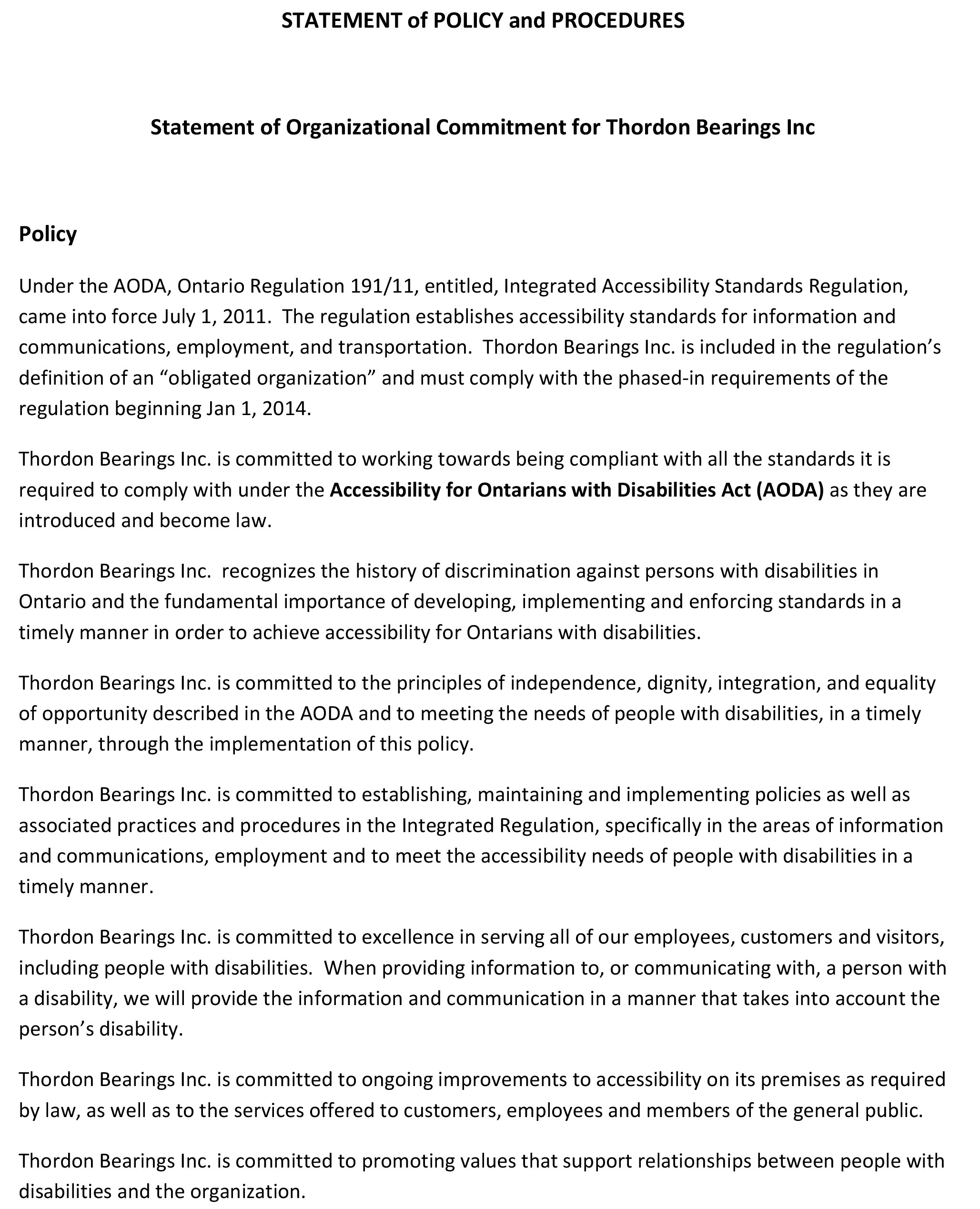 Cover of Statement of Policy