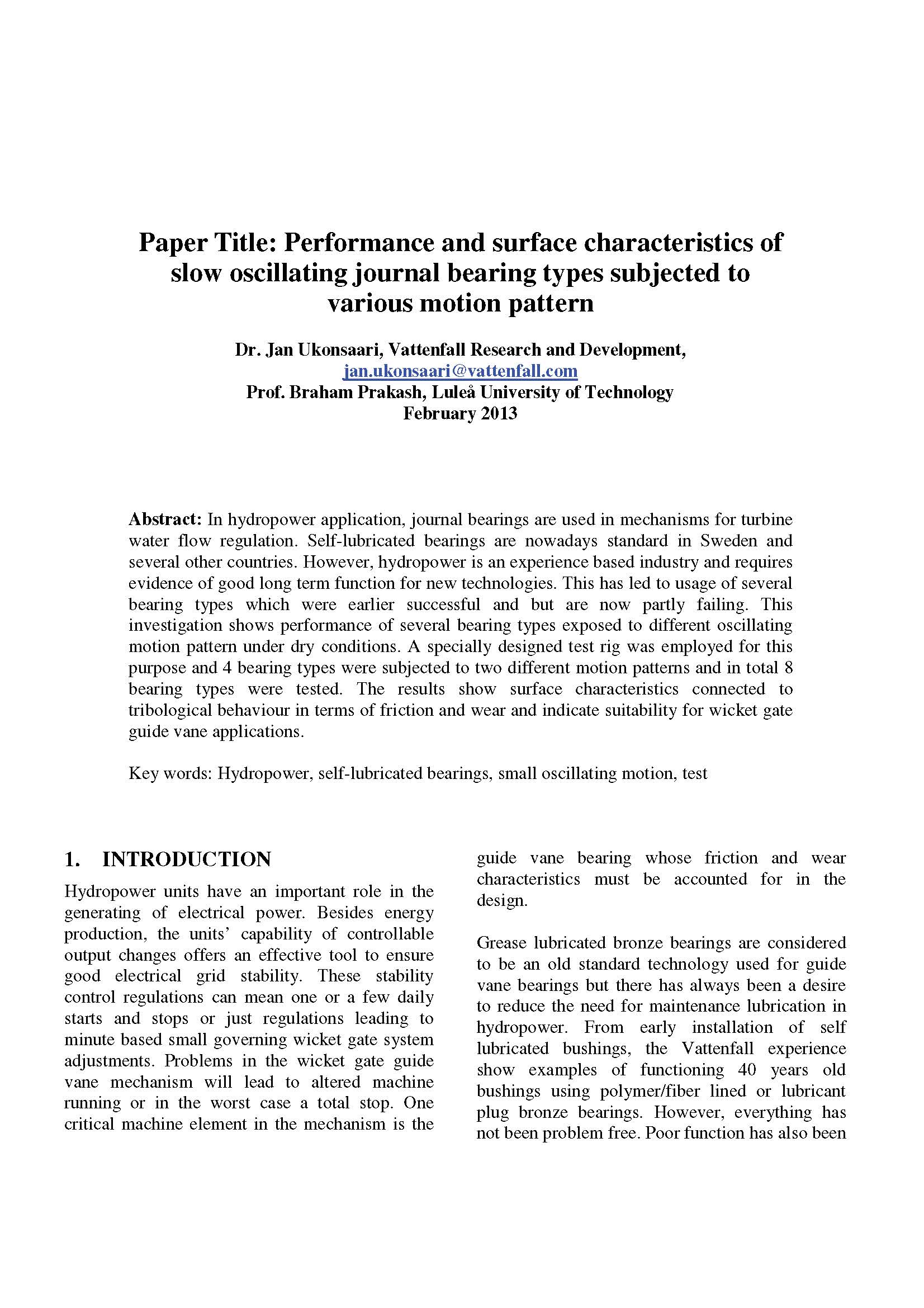 Vattenfall_Lulea University - Performance Characteristics of Slow Oscillating Journal Bearings